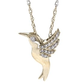 hummingbird soaring bird charm tiny listing il necklace