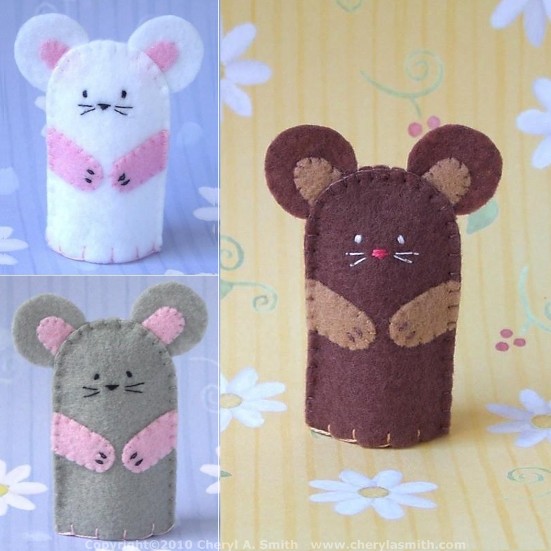 Mouse Finger Puppet Handstitched Mouse Felt Finger Puppet